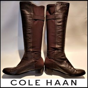COLE HAAN Leather Stretch Brown Riding Boot 7B